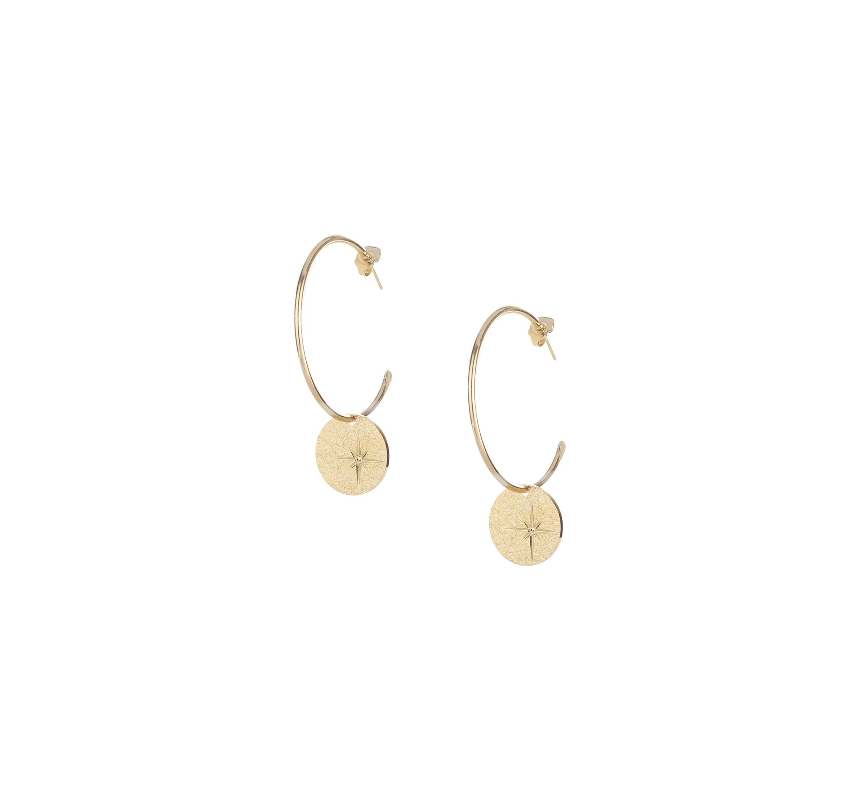 Boucles d'oreilles créoles étoile en plaqué or - Lovely Day