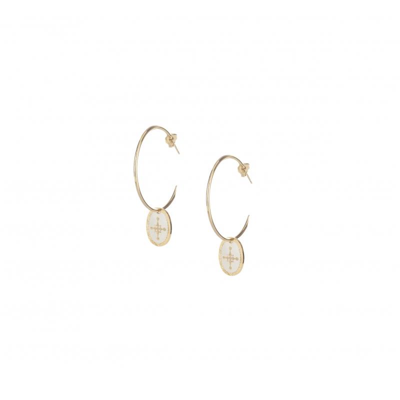 Spark gold hoop earrings -...