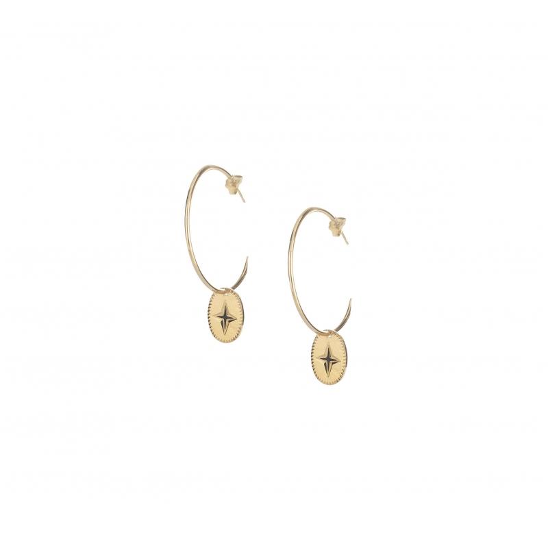 Shine gold hoop earrings -...