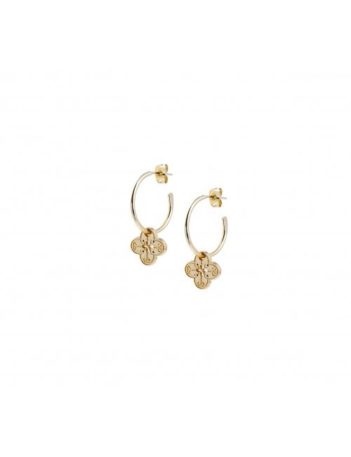 Mini clovers gold hoop earrings - Lovely Day