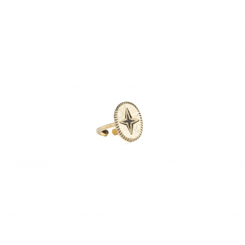 Oval shine gold ring -...