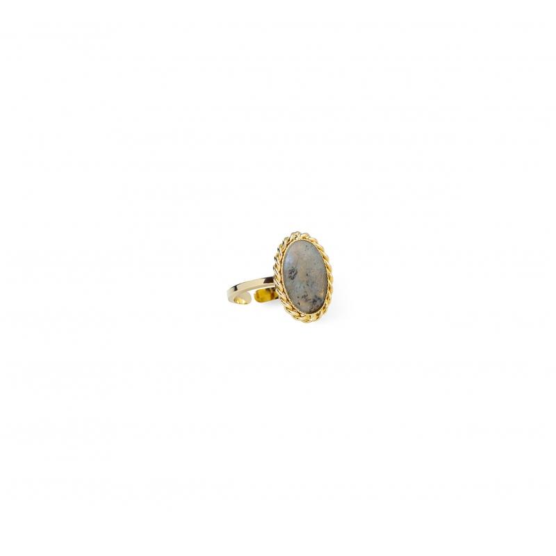 Labradorite stone gold ring...