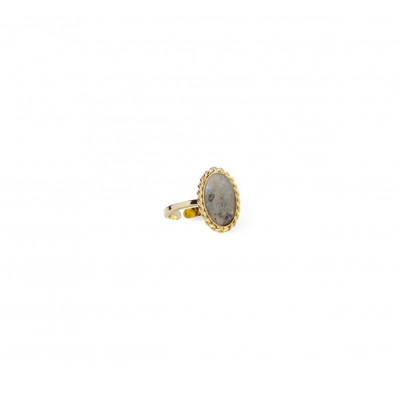 Labradorite stone gold ring...