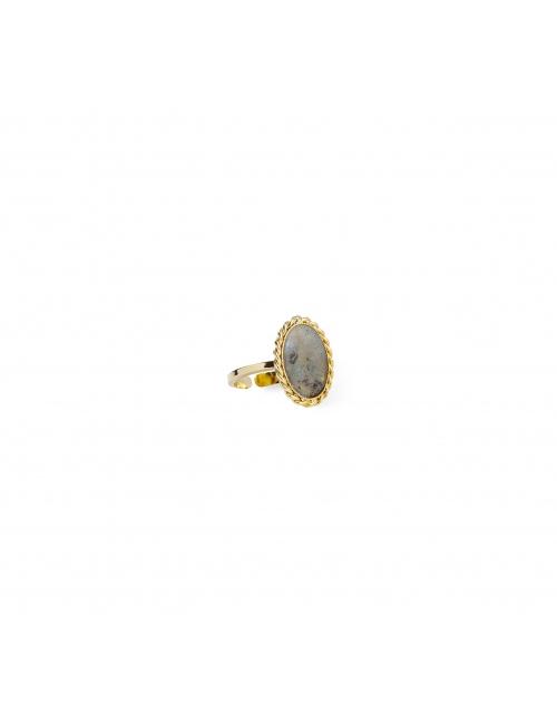 Labradorite stone gold ring - Lovely Day