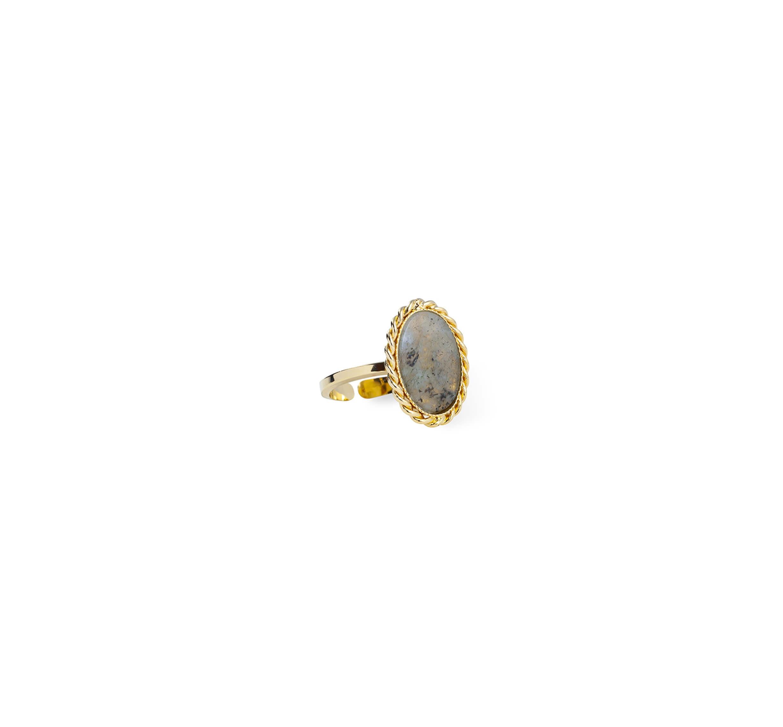 Bague stone labradorite en plaqué or - Lovely Day