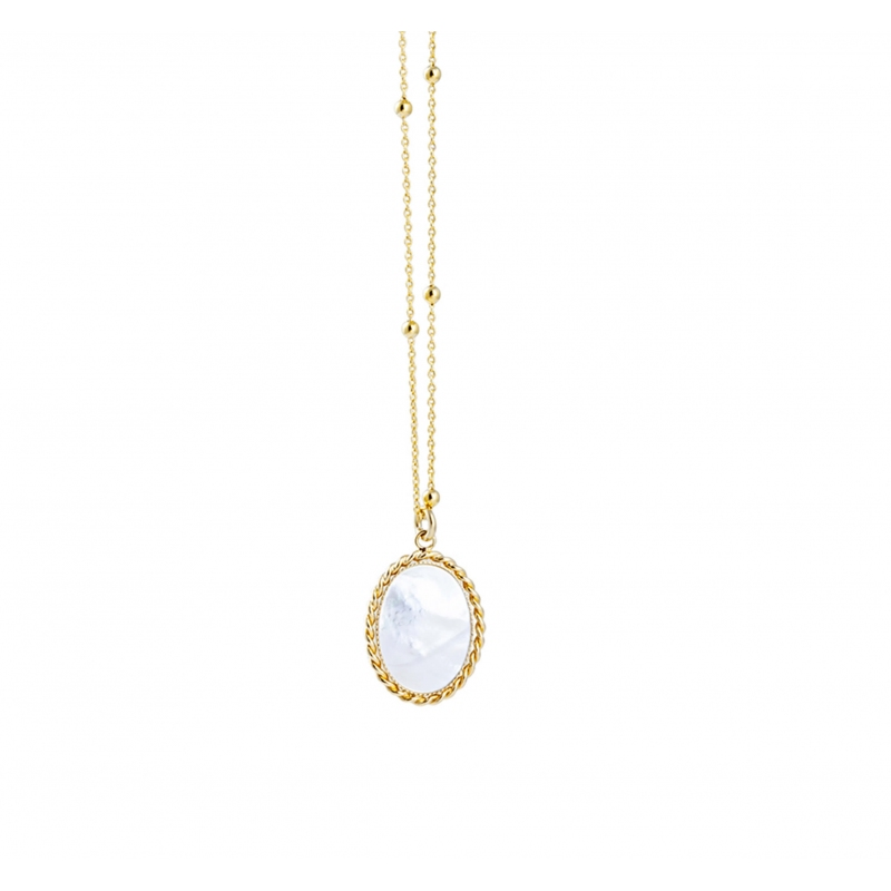 Pearl oval gold long necklace - Lovely Day