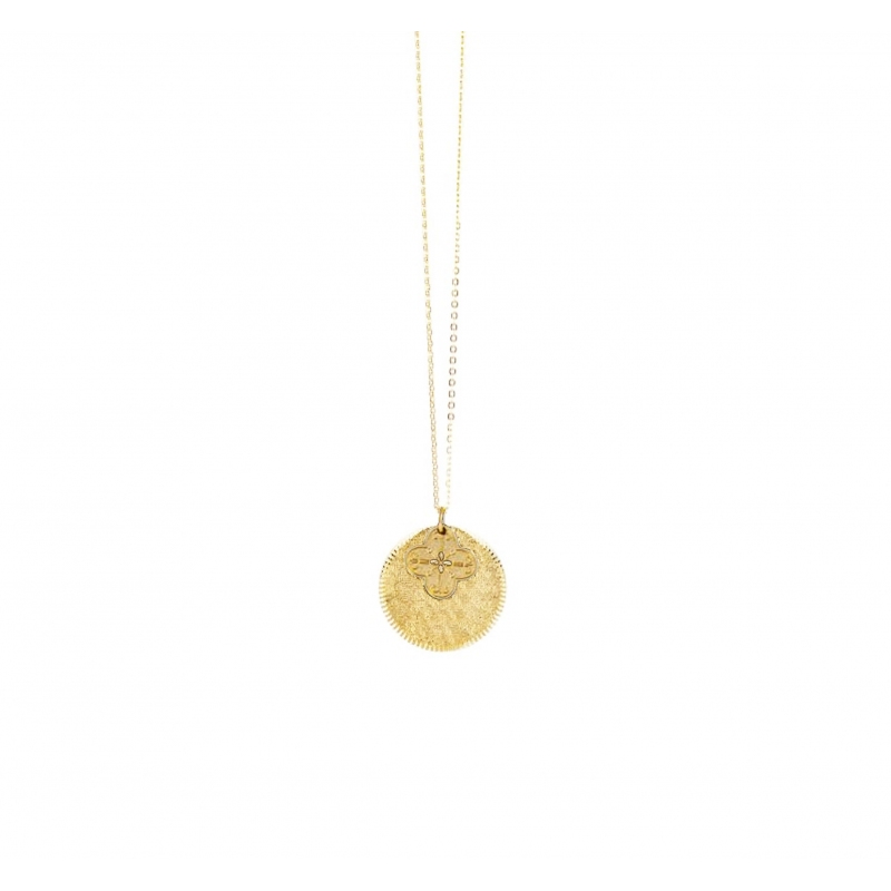 Clover gold long necklace -...