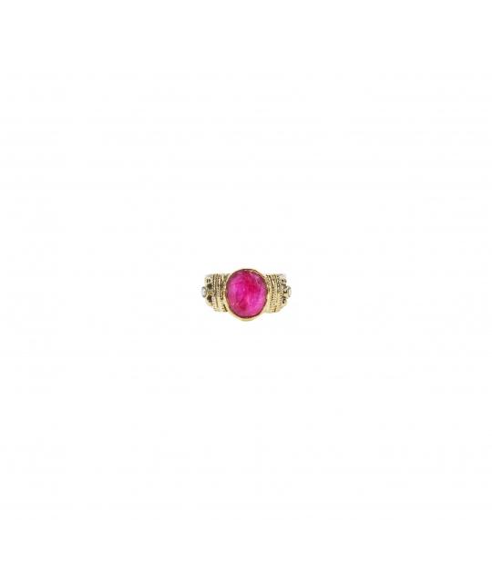 Bague ethnique chic rubis indien MM en argent - Canyon - Canyon Bijoux