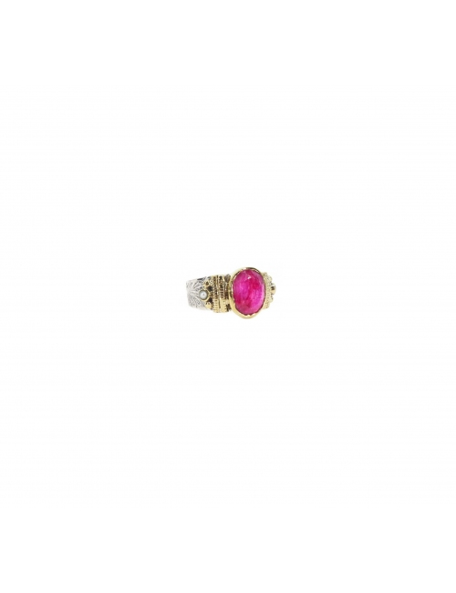 Ethnic chic Indian ruby MM silver ring - Canyon