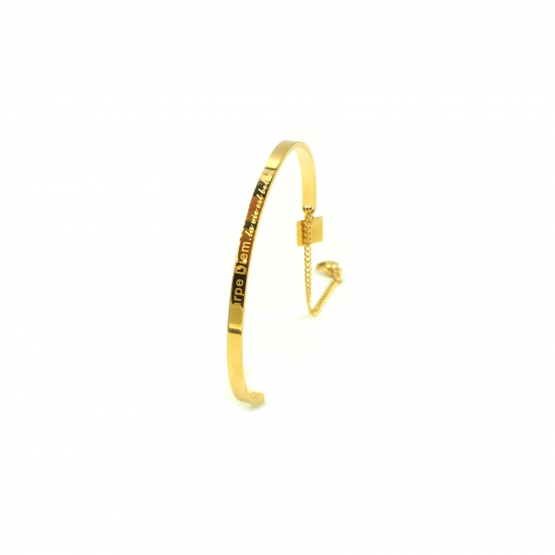 Jonc Carpe Diem en acier or jaune - Zag bijoux