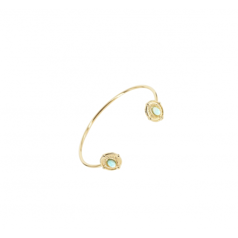 Water green Duna gold bangle bracelet - Shyloh Paris