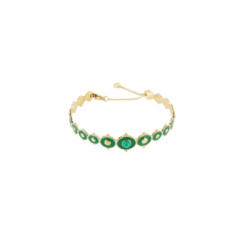 Green Laguna gold bangle bracelet- Shyloh Paris