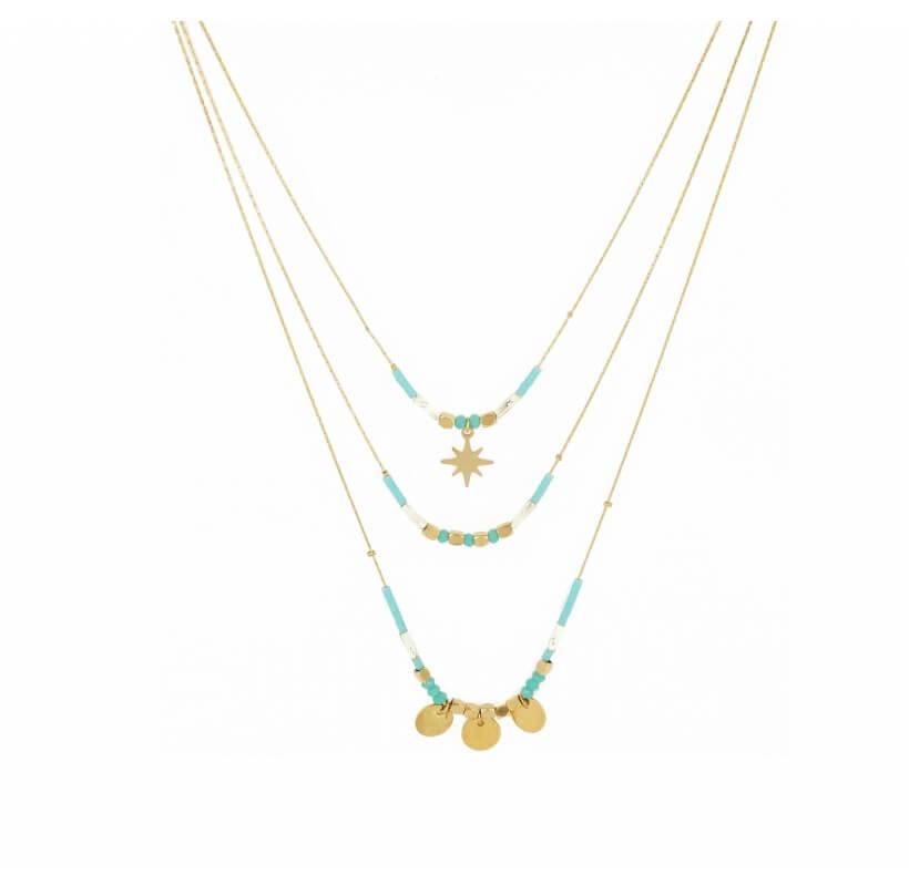 Collier 3 rangs turquoise en acier jaune - Shyloh Paris - Shyloh Paris
