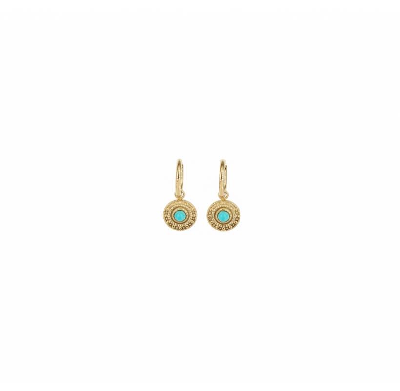 Boucles d'oreilles créoles sonia turquoise acier - Shyloh Paris