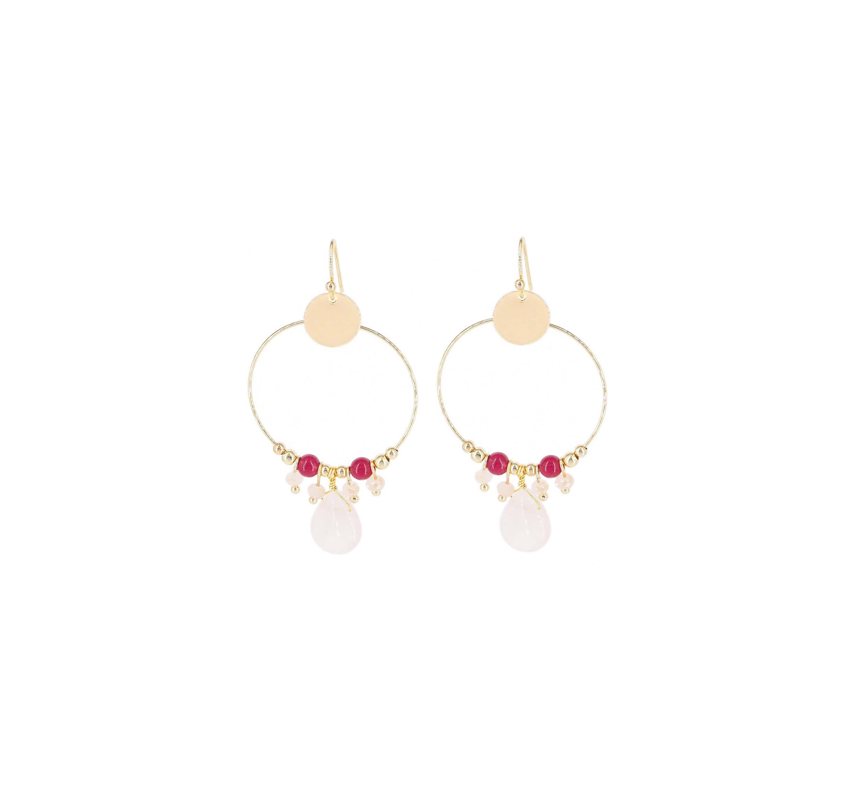 Boucles d'oreilles rosa en acier jaune - Shyloh Paris