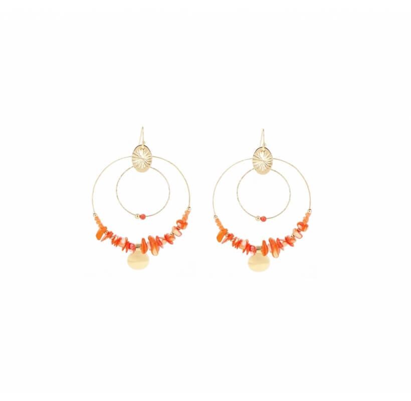 Boucles d'oreilles indiana corail en acier jaune - Shyloh Paris