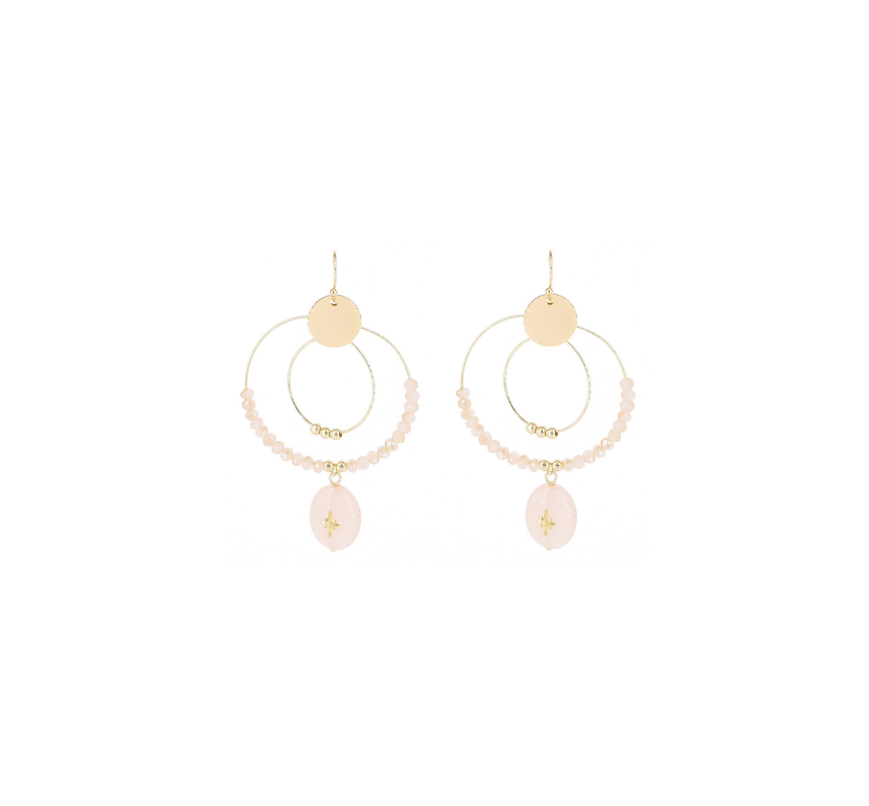 Boucles d'oreilles gladys rose en acier jaune - Shyloh Paris