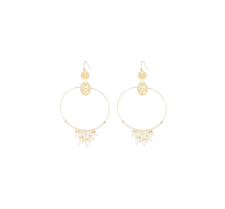 Boucles d'oreilles Riviera perles en acier jaune - Shyloh Paris