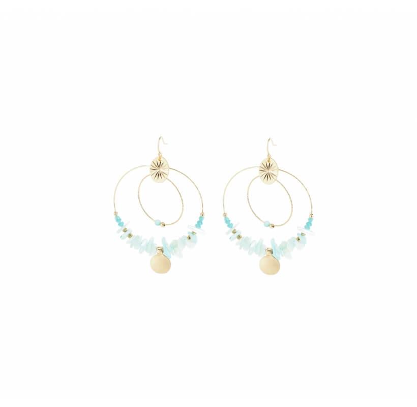 Boucles d'oreilles indiana turquoise en acier - Shyloh Paris