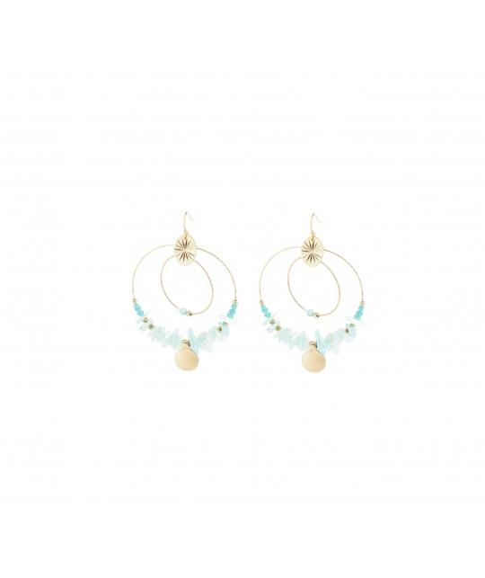 Boucles d'oreilles indiana turquoise en acier - Shyloh Paris - Shyloh Paris