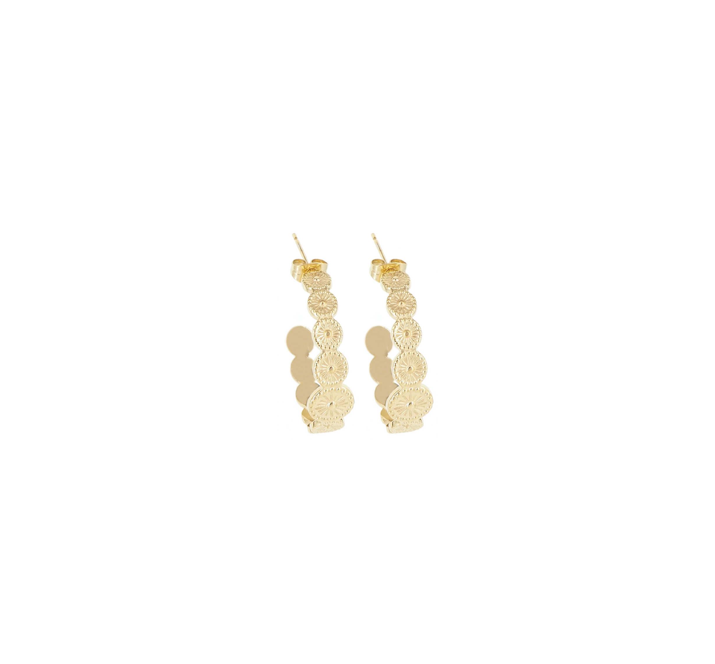 Boucles d'oreilles créoles rosaria en acier jaune - Shyloh Paris