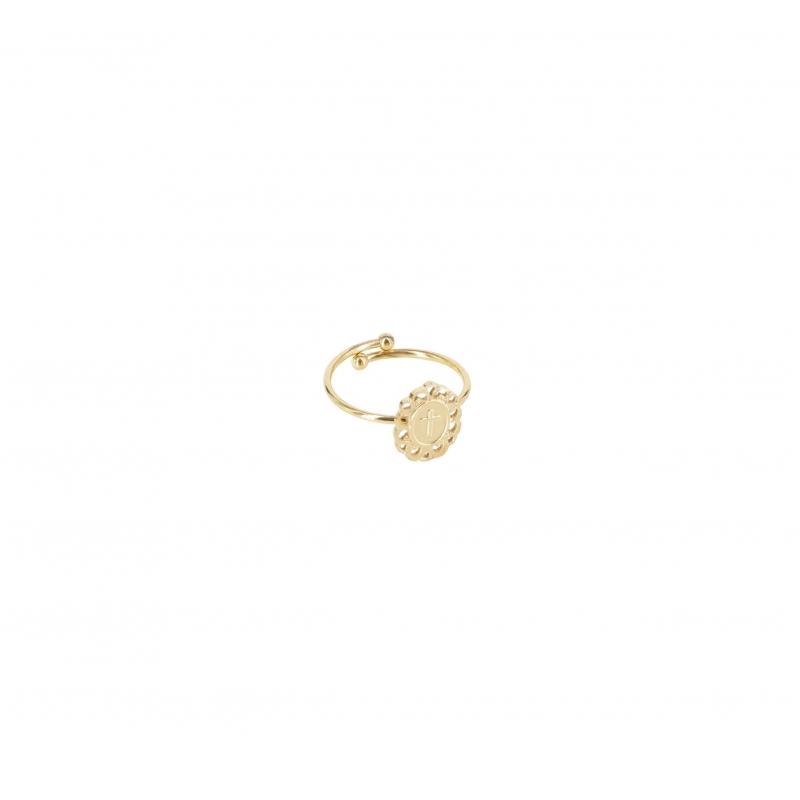 Athena cross gold ring -...