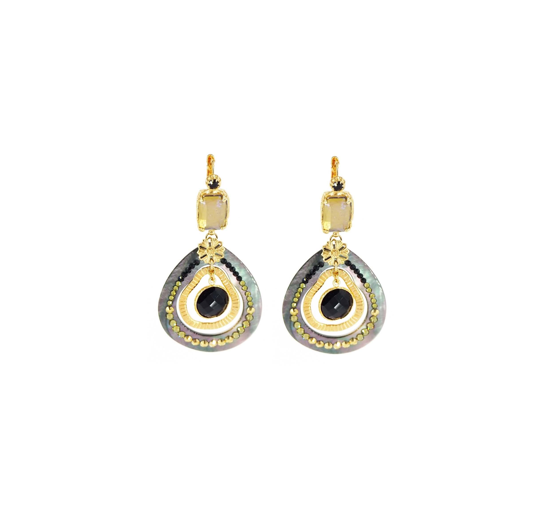 Boucles d'oreilles Régina gris nude or - Gas bijoux
