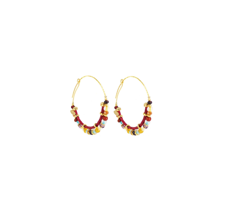Boucles d'oreilles créoles comédia multicolore or - Gas bijoux