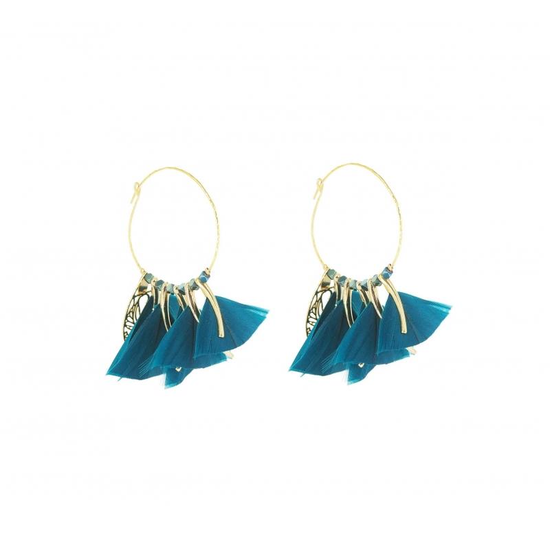 Marly velvet blue gold hoops earrings - Gas Bijoux