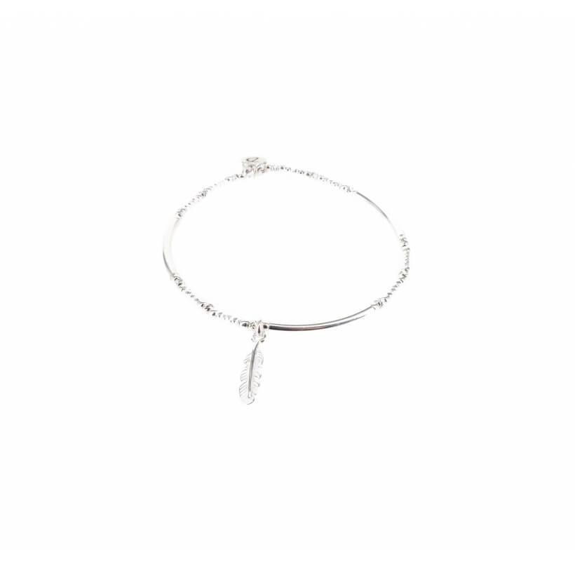 Bracelet  élastique mini plume argent - Doriane bijoux