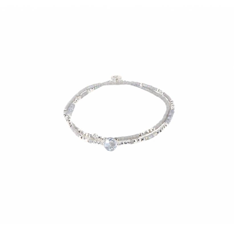 Bracelet double élastiques spring light gris - Doriane bijoux