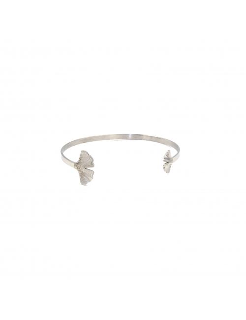 Ginkgo silver bangle - Zag bijoux