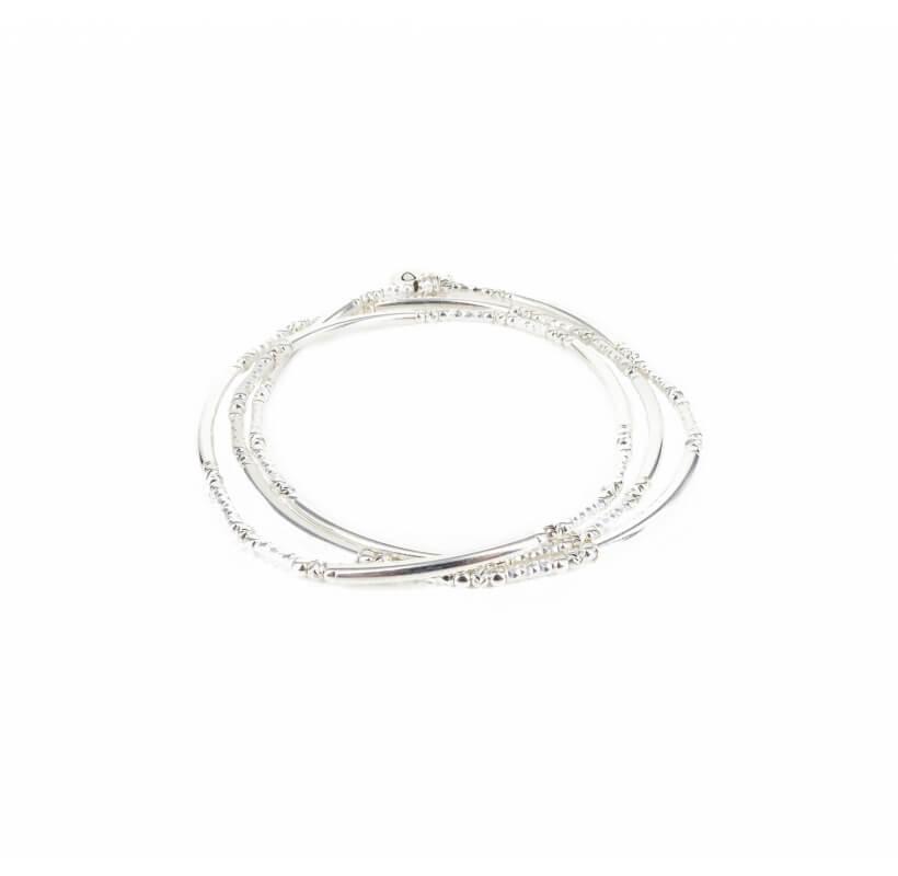 Bracelet triple élastiques tubes argent - Doriane bijoux - Doriane Bijoux