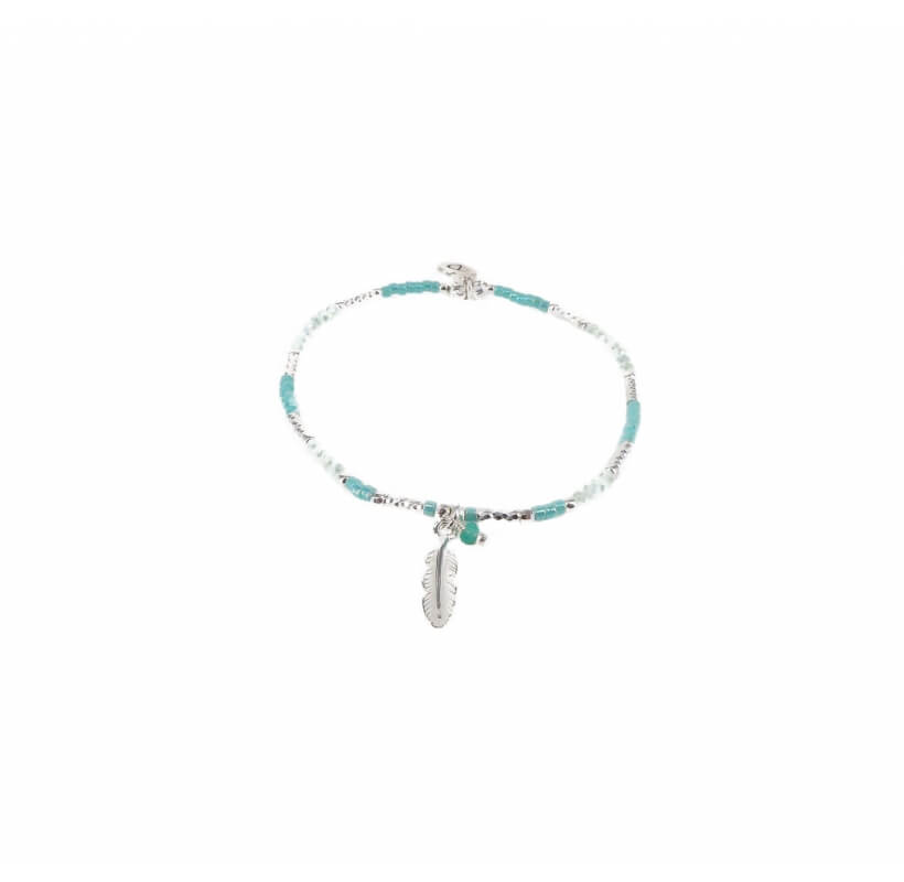 Bracelet élastique plume turquoise - Doriane bijoux