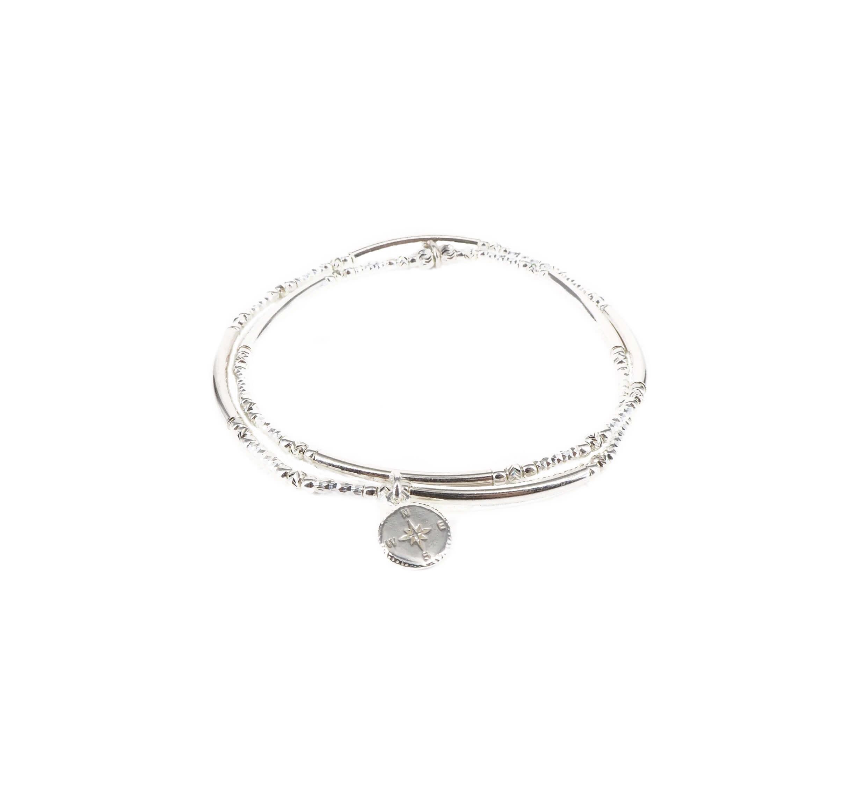 Bracelet double élastique rose des vents - Doriane bijoux