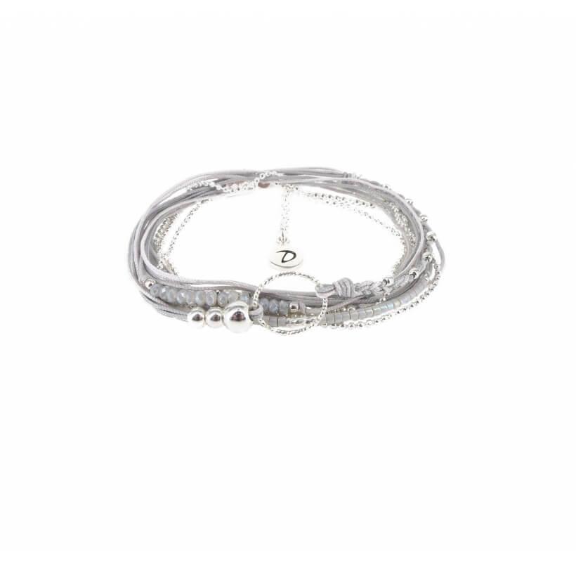 Bracelet multi-tours diamanté gris clair - Doriane bijoux