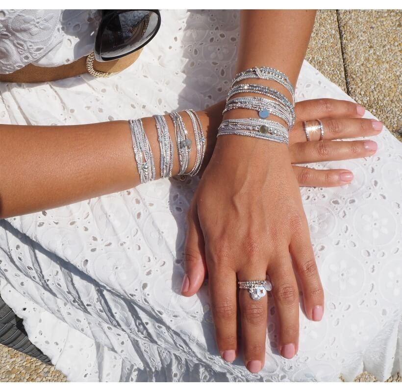 Bracelet multi-tours diamanté gris clair - Doriane bijoux - Doriane Bijoux