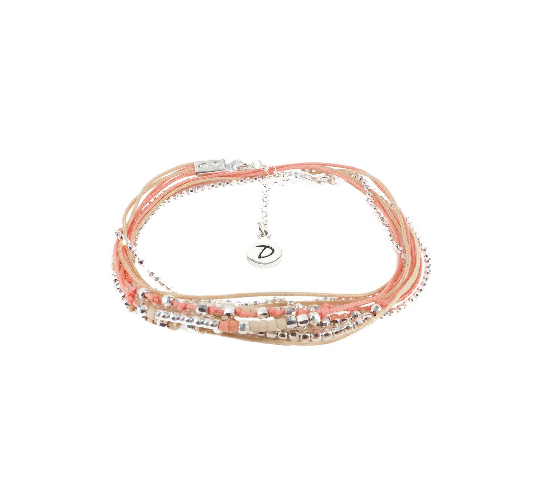 Bracelet multi-tours égérie corail beige - Doriane bijoux