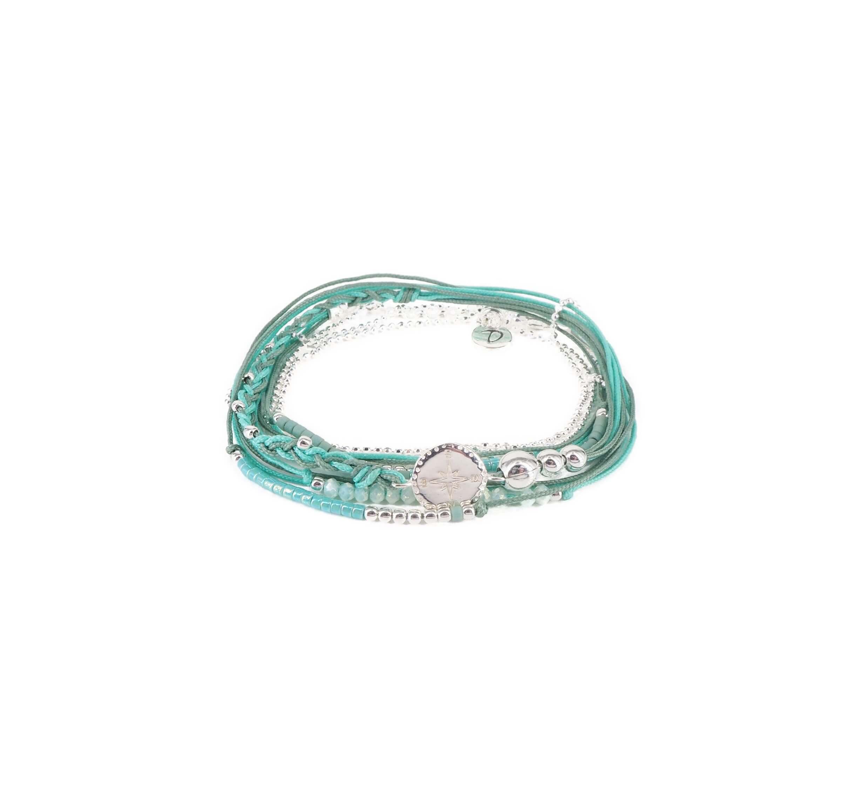 Bracelet multi-tours compass menthe - Doriane bijoux