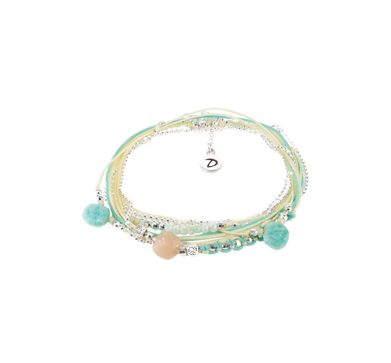 Bracelet multi-tours virtuose turquoise beige - Doriane bijoux