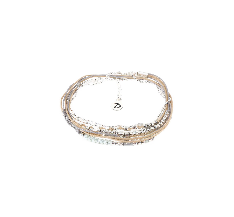 Bracelet multi-tours iconique vert beige gris - Doriane bijoux