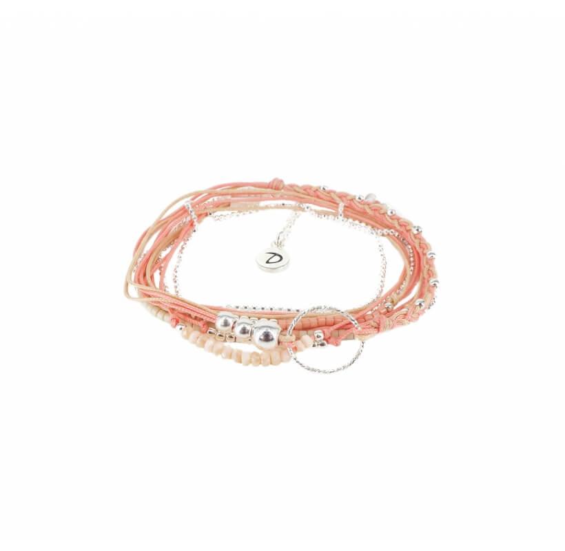 Bracelet multi-tours diamanté corail beige - Doriane bijoux - Doriane Bijoux