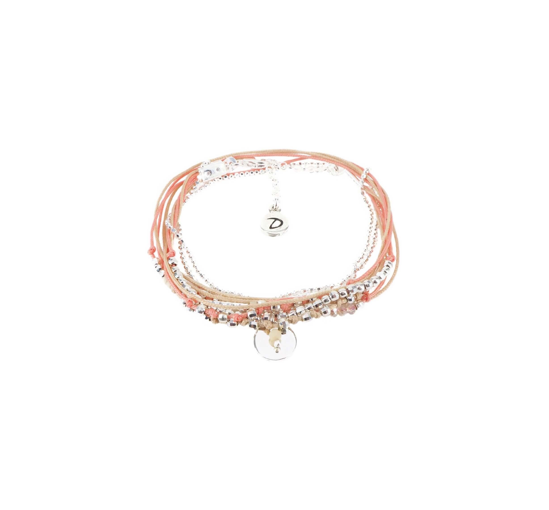 Bracelet multi-tours pastille corail beige - Doriane bijoux