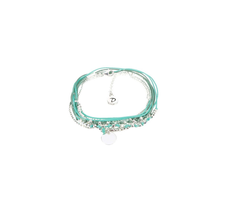 Bracelet multi-tours pastille menthe turquoise - Doriane bijoux