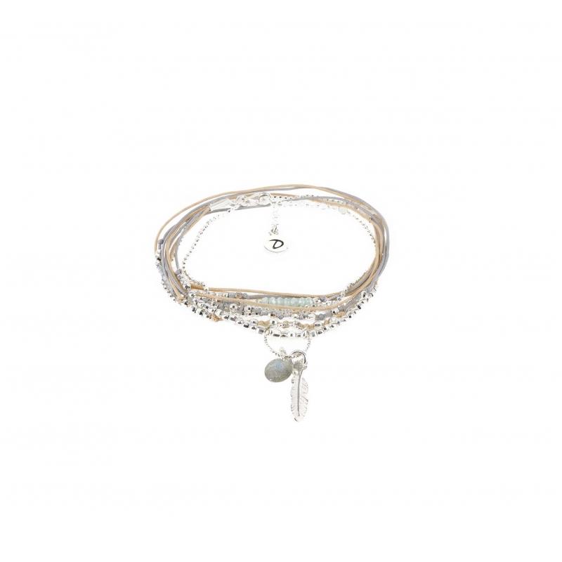 Bracelet multi-tours plume...