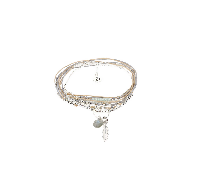 Bracelet multi-tours plume vert beige gris - Doriane bijoux