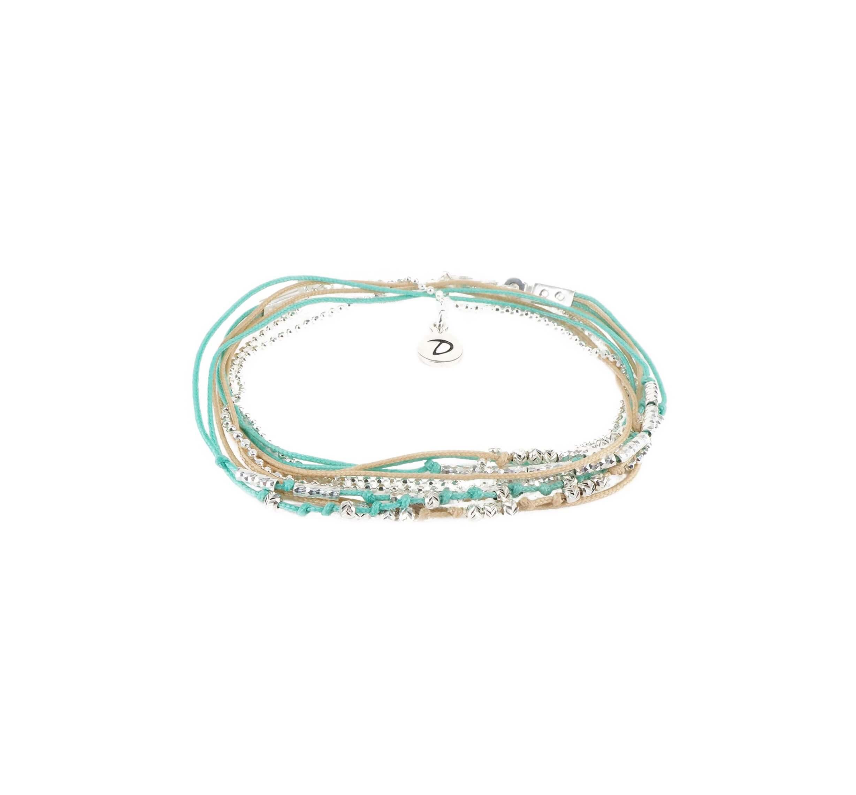 Bracelet multi-tours wavy turquoise beige - Doriane bijoux