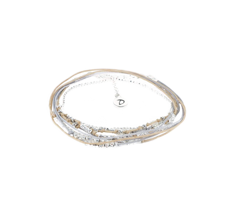 Bracelet multi-tours wavy gris beige - Doriane bijoux