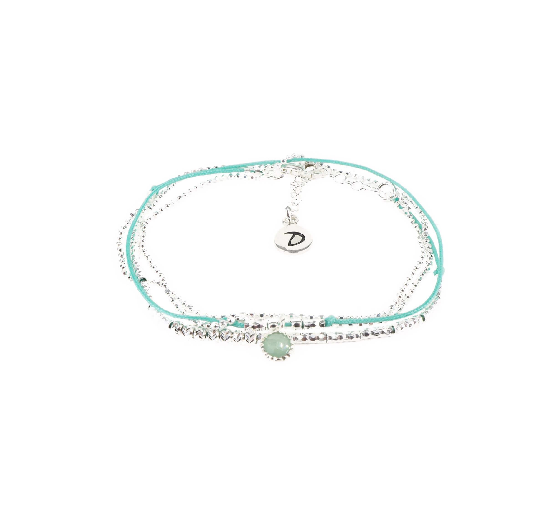 Bracelet multi-tours fin aventurine turquoise - Doriane bijoux