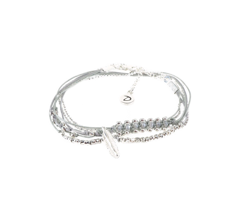 Bracelet multi-tours plume gravée gris clair - Doriane bijoux